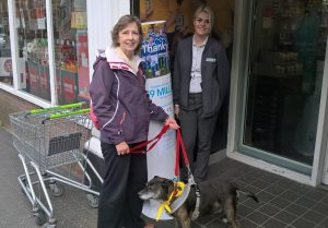 Mabel visiting Co-op to thank them for donation April 2017