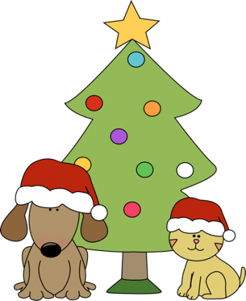 cat and dog and xmas tree