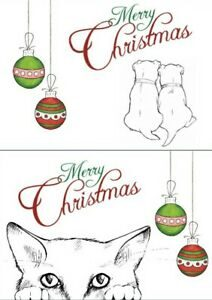 xmas cards cat and baubles and dogs